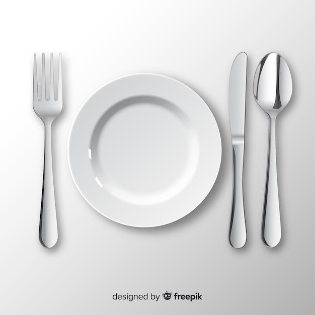 Vue De Dessus Des Couverts De Restaurant Avec Un Design Réaliste Vecteur Premium