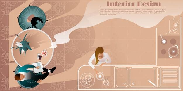 Vue De Dessus De Design D'intérieur De Cuisine Moderne. Maquette Vectorielle Pour Une Page De Destination De Mise En Page Vecteur Premium