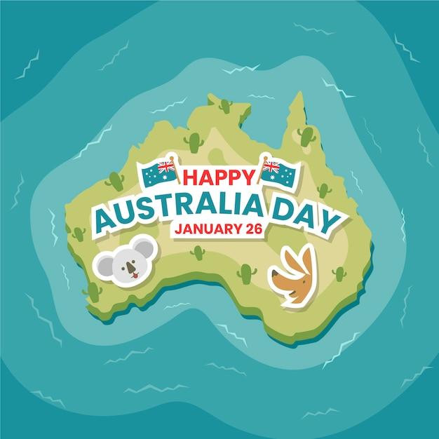 Vue De Dessus Design Plat De Terre Australienne Vecteur gratuit
