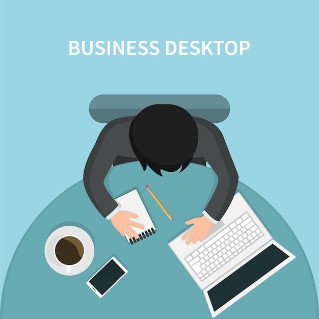 Vue de dessus du bureau d'affaires personne avec son ordinateur portable Vecteur Premium