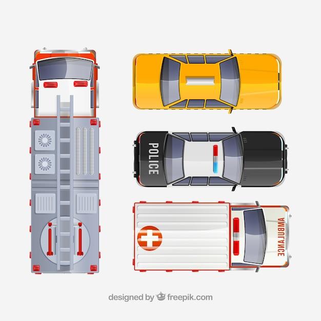 Vue De Dessus Du Camion De Pompier Du Taxi De La Voiture De Police