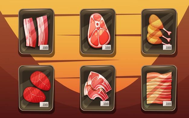 Vue de dessus du comptoir de viande avec des plateaux de cuisses de poulet Vecteur gratuit