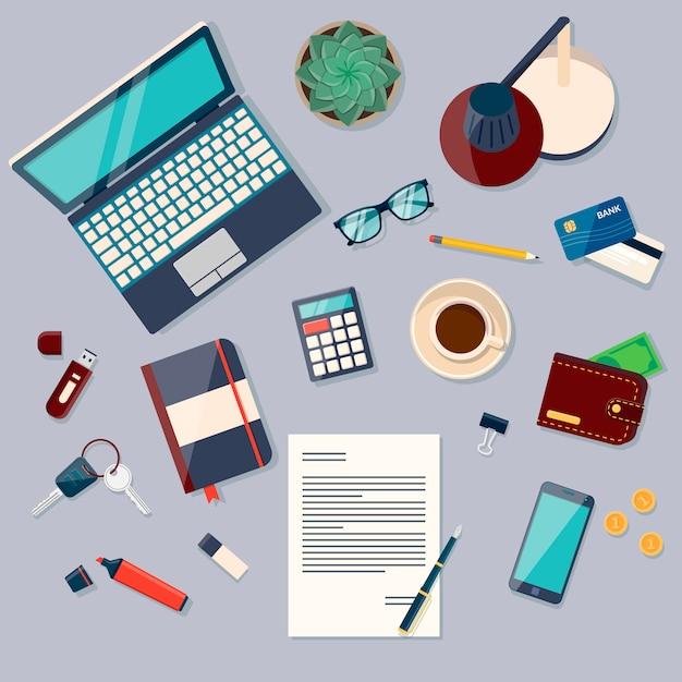 Vue de dessus du fond de bureau avec ordinateur portable, appareils numériques, objets de bureau, livres et documents Vecteur Premium
