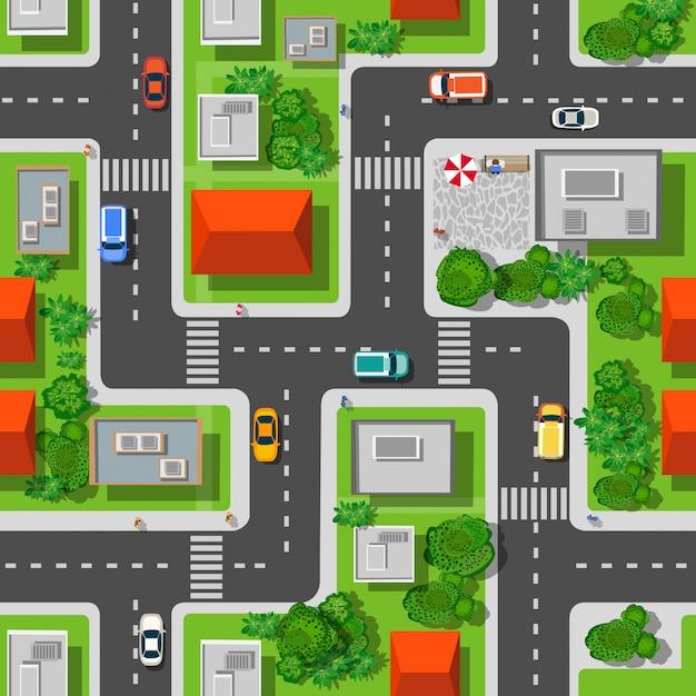 Vue de dessus du modèle sans couture de la ville des rues, des routes, des maisons et des voitures Vecteur Premium