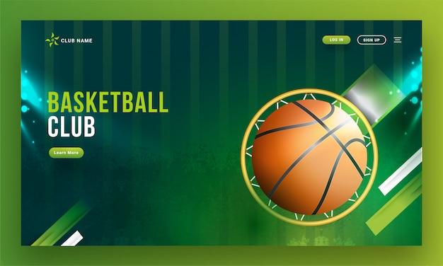 Vue de dessus du panier de basket avec ballon sur backgrou vert abstrait Vecteur Premium