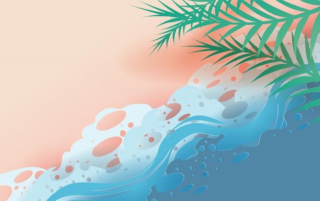 Vue de dessus des feuilles tropicales et des vagues de la mer sur la plage. Vecteur Premium