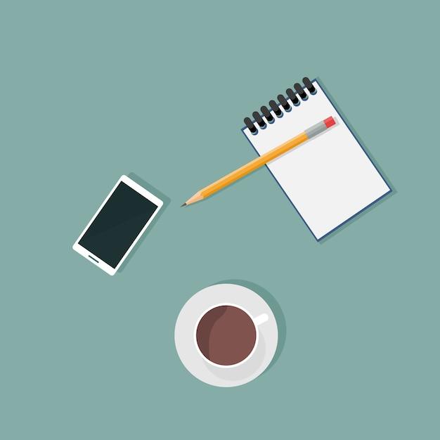 Vue de dessus des fournitures de bureau et téléphone portable Vecteur Premium