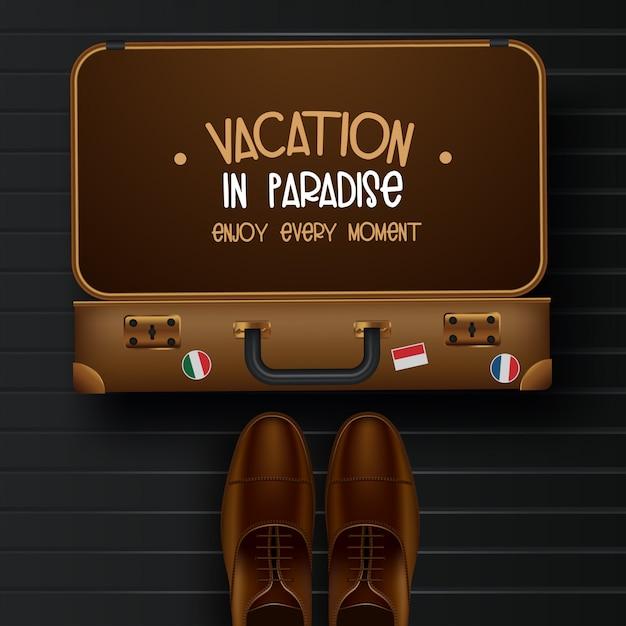 Vue de dessus sur l'illustration de concept de voyage et tourisme Vecteur Premium