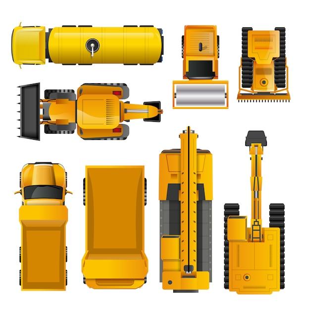 Vue de dessus de machines de construction Vecteur gratuit