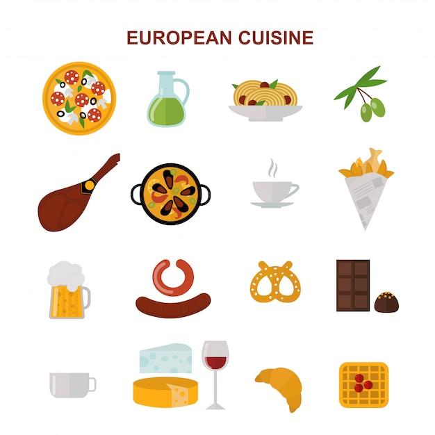 Vue de dessus montrant la nourriture européenne et illustration plat de délicieux éléments. Vecteur Premium
