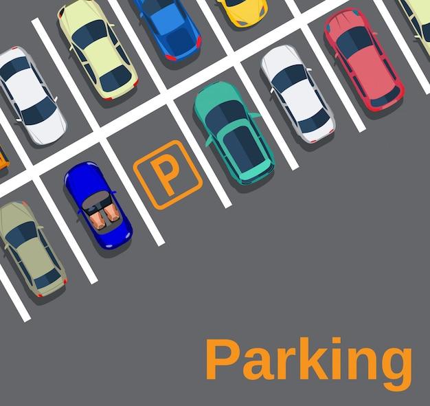 Vue De Dessus D'un Parking En Ville Vecteur Premium