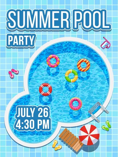 Vue de dessus personne piscine avec de l'eau bleue. conception de vecteur pour invitation de fête Vecteur Premium