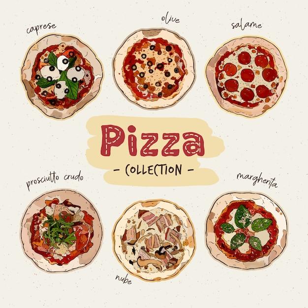 Vue de dessus de pizza sertie de différents ingrédients. pizza italienne entière. main dessiner des croquis vectoriels. Vecteur Premium