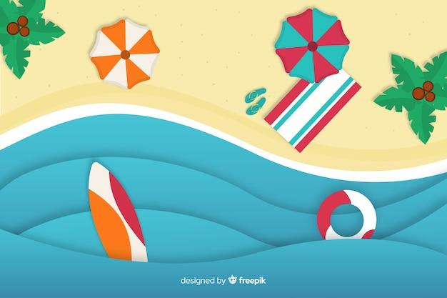 Vue de dessus de plage dans le style de papier Vecteur gratuit