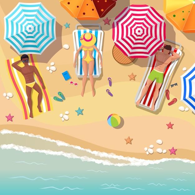 Vue De Dessus De Plage Avec Des Hommes Et Des Femmes De Baigneurs. Parapluie Et Vacances, Tourisme D'été Détente, Repos Mer Et Sable. Vecteur gratuit