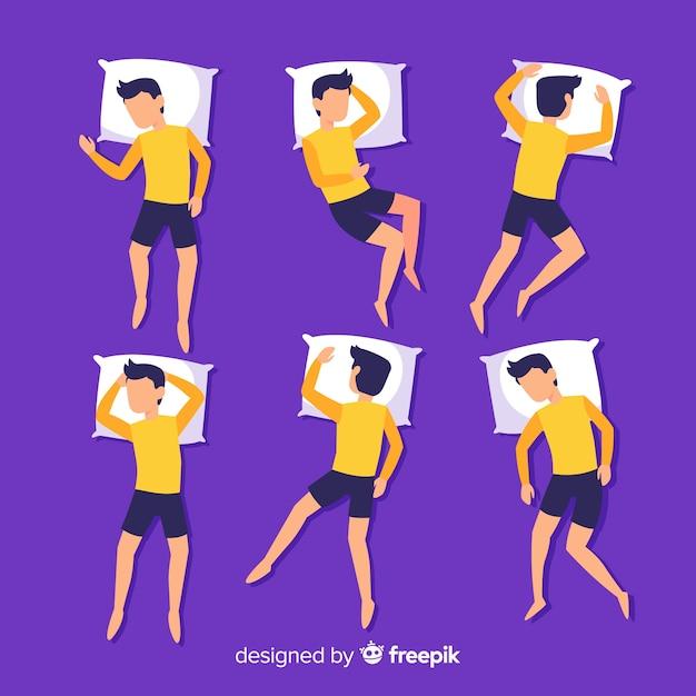 Vue de dessus plat pack position de sommeil personne Vecteur gratuit
