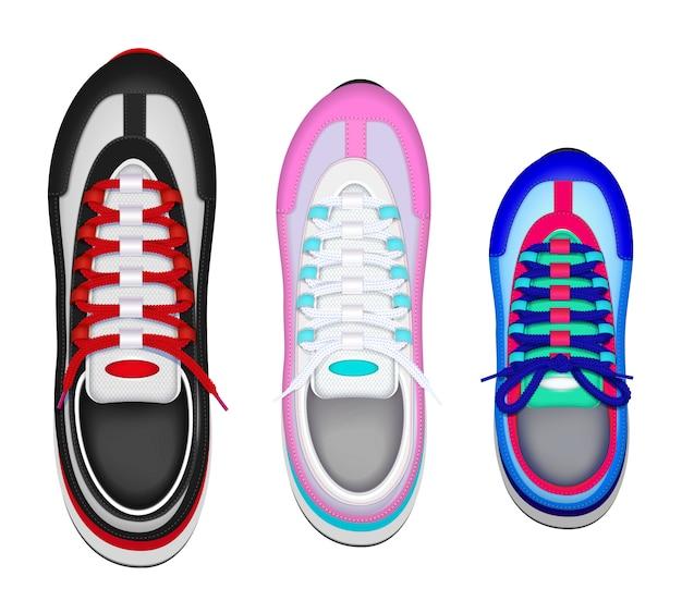 Vue De Dessus Réaliste De Chaussures De Sport Familiales Colorées Avec Une Chaussure De Pied Gauche Enfant Père Mère Vecteur gratuit