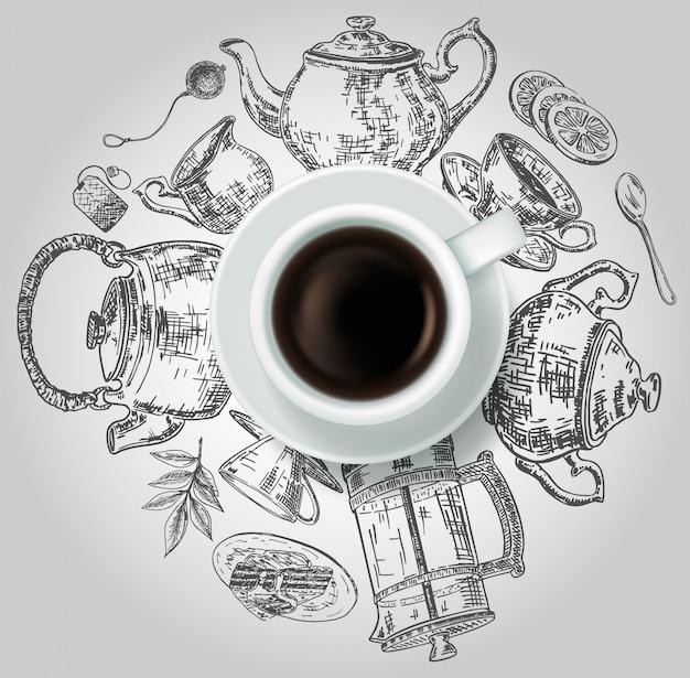 Vue de dessus réaliste tasse de thé noir avec des éléments de thé doodle dessinés à la main autour de lui. Vecteur Premium