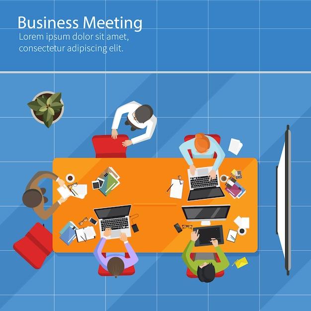 Vue de dessus de réunion d'affaires Vecteur Premium