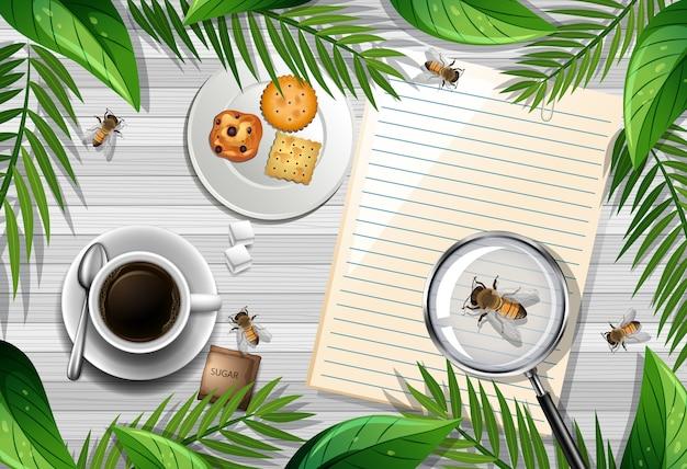 Vue De Dessus De La Table En Bois Avec Des Objets De Bureau Et Des éléments De Feuilles Et D'insectes Vecteur gratuit