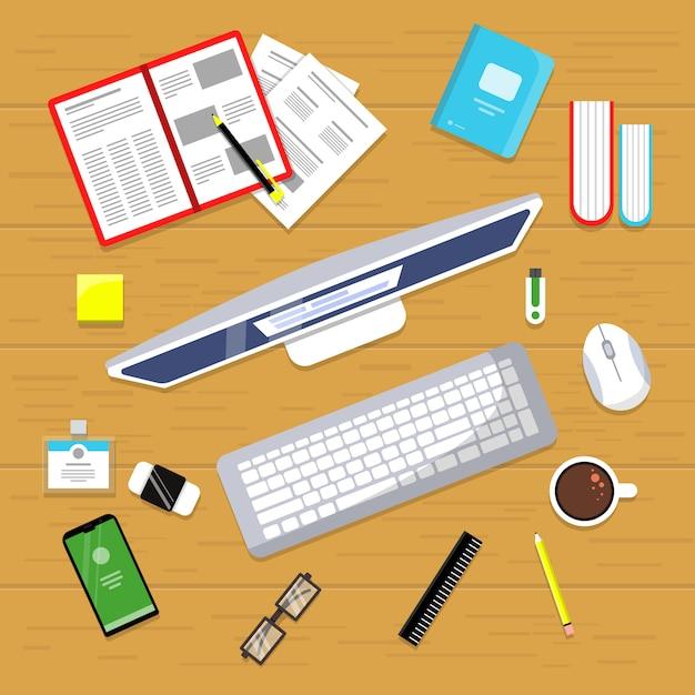 Vue De Dessus De Table De Bureau. Espace De Travail De Gestionnaire De Finances Commerciales Avec Livres D'ordinateur Portable Souris Pc Plat Vecteur Premium
