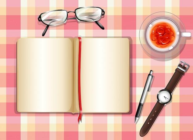 Une vue de dessus d'une table avec des objets différents Vecteur Premium