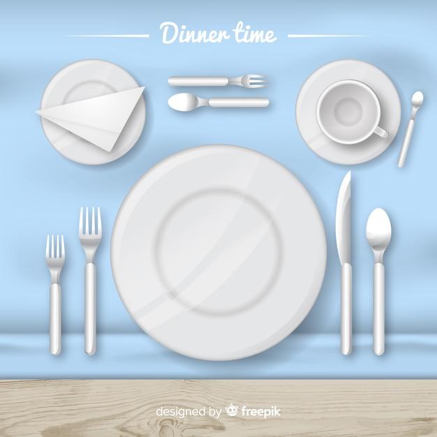 Vue de dessus de la table de restaurant avec un design plat Vecteur gratuit