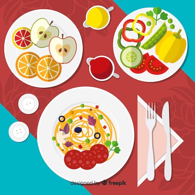 Vue de dessus de la table de restaurant élégant avec un design plat Vecteur gratuit