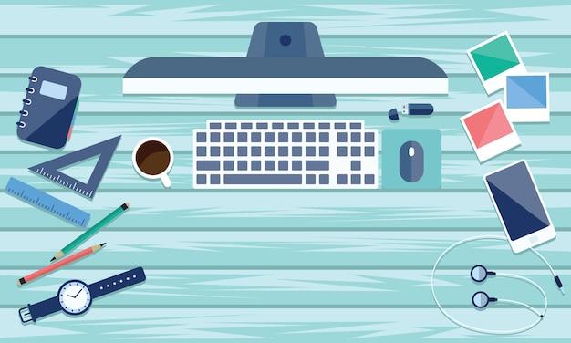 Vue de dessus de table de travail et bureau avec gadget et espace libre pour le texte. Vecteur Premium