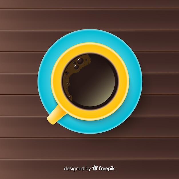 Vue de dessus de tasse à café avec un design réaliste Vecteur gratuit