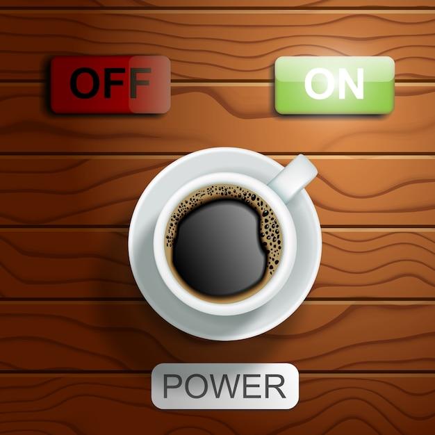 Vue de dessus tasse de café avec et hors Vecteur Premium