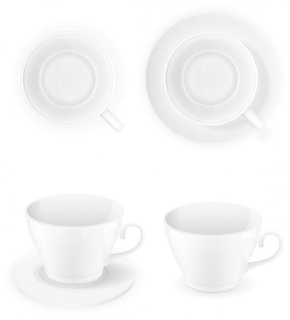 Vue de dessus de tasse en porcelaine blanche et une illustration de vecteur côté isolé Vecteur Premium