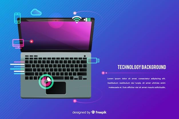 Vue de dessus technologie de fond pour ordinateur portable Vecteur gratuit