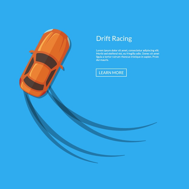 Vue de dessus de voiture à la dérive vector avec illustration de pistes de pneu Vecteur Premium