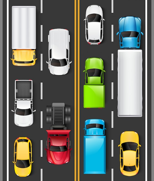 Vue De Dessus Des Voitures Et Des Camions Sur La Route. Les Voitures Roulent Sur L'autoroute. Trafic Sur La Route. Illustration Vecteur Premium