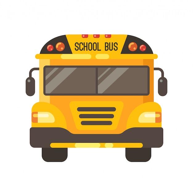 Vue de devant d'autobus jaune Vecteur Premium