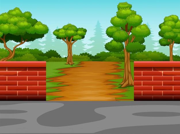 Vue du chemin de terre vers la forêt Vecteur Premium