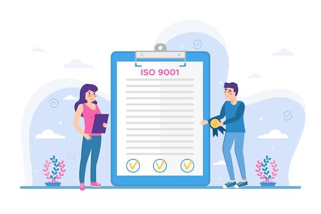 Vue De Face De La Certification Iso 9001 Vecteur gratuit