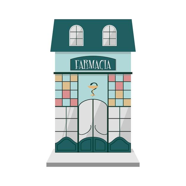 Vue de face extérieure de pharmacie vintage italienne. Vecteur Premium