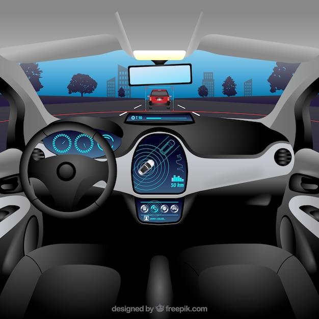 Vue intérieure de la voiture autonome avec un design réaliste Vecteur gratuit