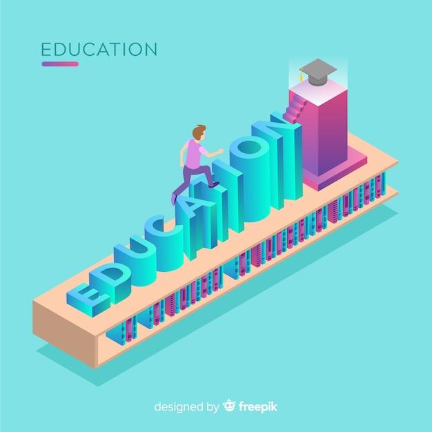 Vue isométrique du concept de l'éducation moderne Vecteur gratuit