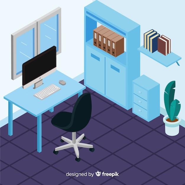 Vue isométrique de l'intérieur de bureau moderne Vecteur gratuit
