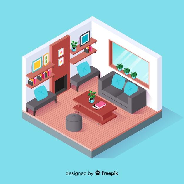 Vue isométrique de l\'intérieur de la maison moderne ...