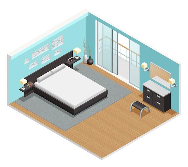 Vue isométrique intérieure de la chambre Vecteur gratuit