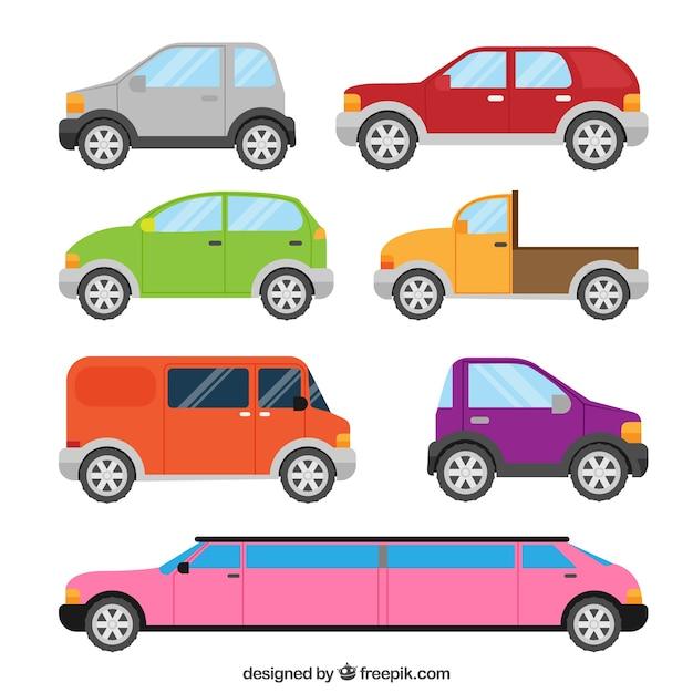 Vue latérale de six voitures et une limousine de luxe Vecteur gratuit