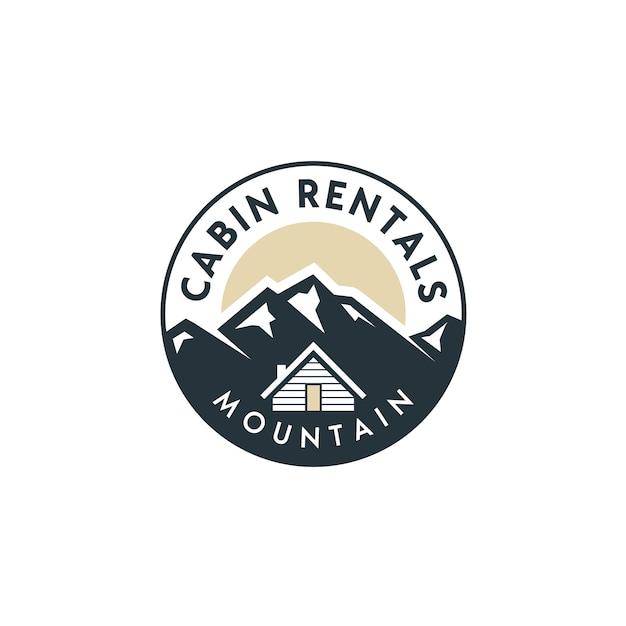 Vue sur la montagne avec cabine pour maison de village à louer logo Vecteur Premium