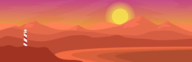 Vue naturelle de la côte de la mer avec le phare et la chaîne de montagnes dans le style bannière au coucher du soleil ou Vecteur Premium