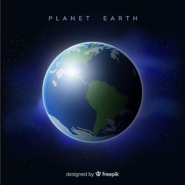 Vue de nuit de la planète terre avec un design réaliste Vecteur gratuit
