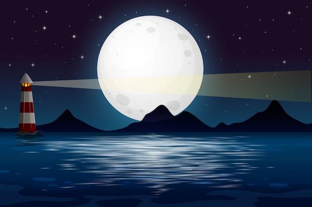 Une vue sur l'océan la nuit Vecteur Premium