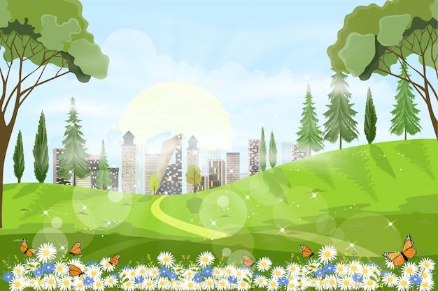 Vue Panoramique Du Champ De Printemps Avec La Lumière Du Soleil Qui Brille Dans La Forêt De Feuillage Vecteur Premium